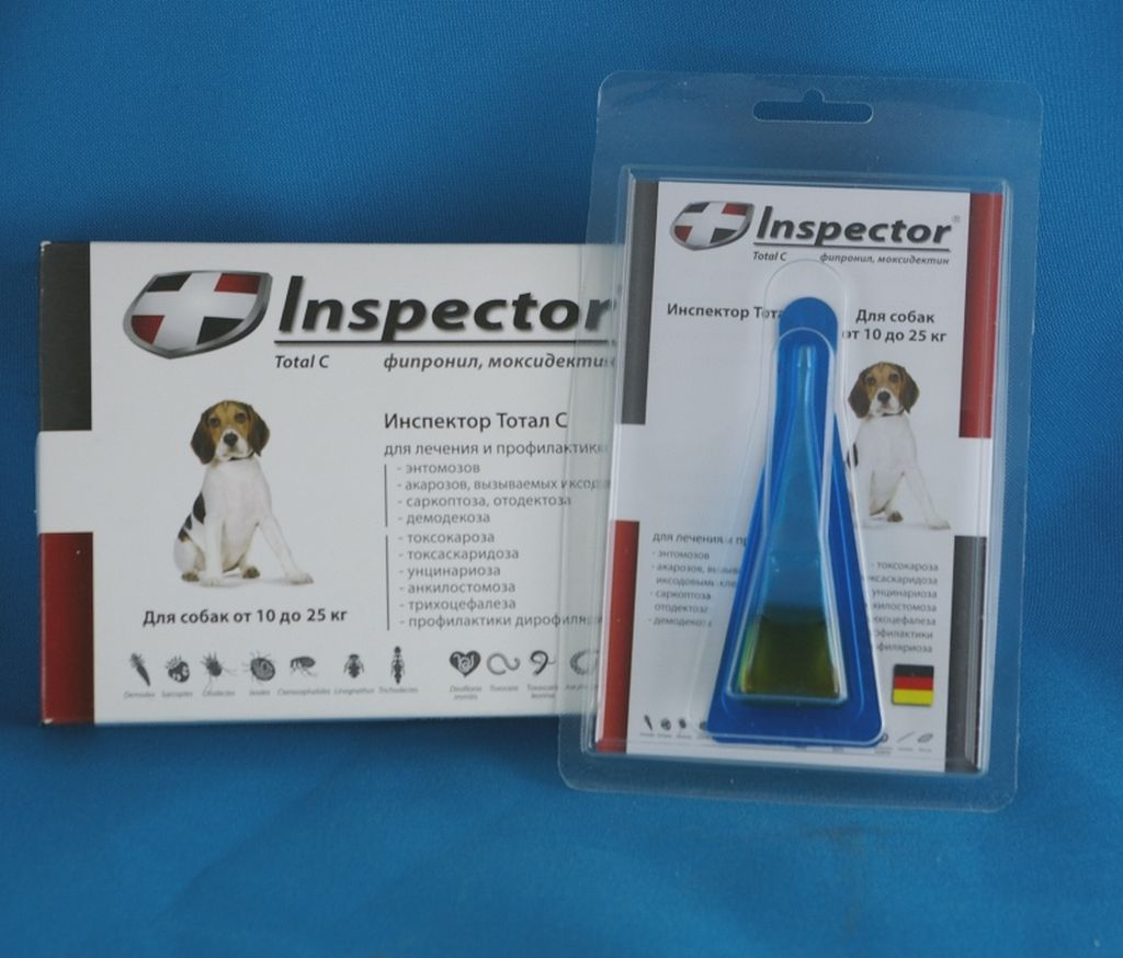 Инспектор поступает в продажу в виде капель в зависимости от веса животного