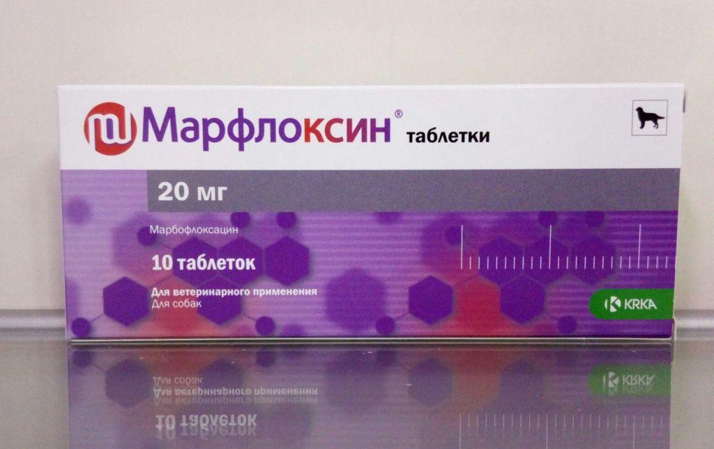Таблетки марфлоксини при заболеваниях бактериальной и микоплазменной этиологии у кошек и собак