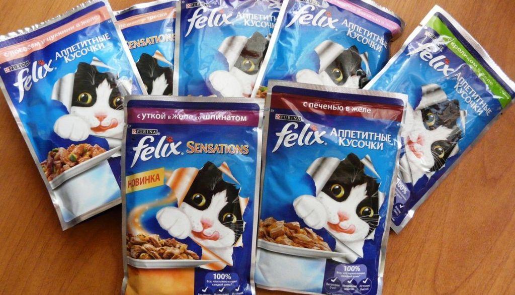 В ассортимент Феликса входят как сухие, так и влажные корма