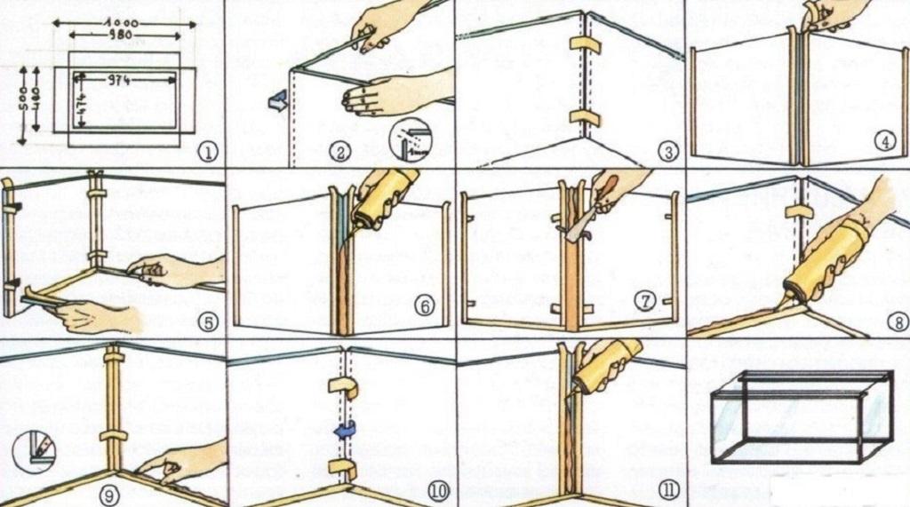 Процесс склеивания аквариума своими руками