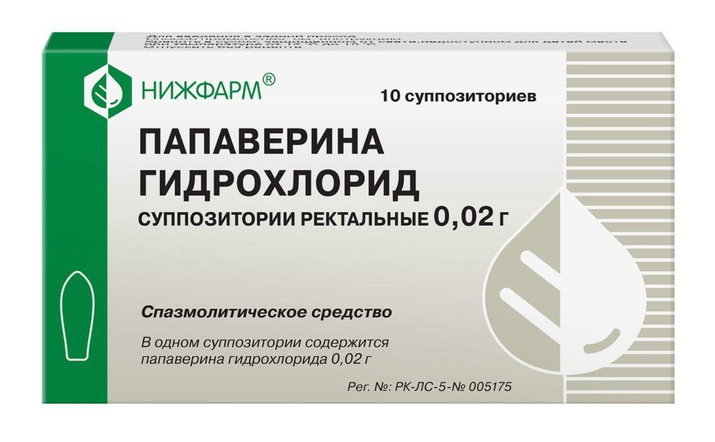 Спазмолитическое средство в виде суппозиторий